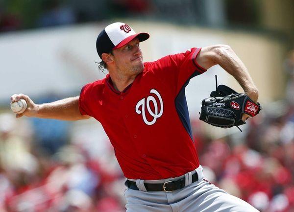 Washington Nationals starting pitcher Max Scherzer works in