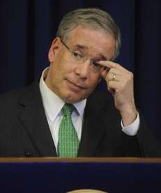 New York City Comptroller Scott Stringer holds a