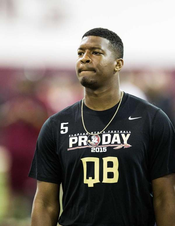 Jameis Winston walks between drills during Florida State