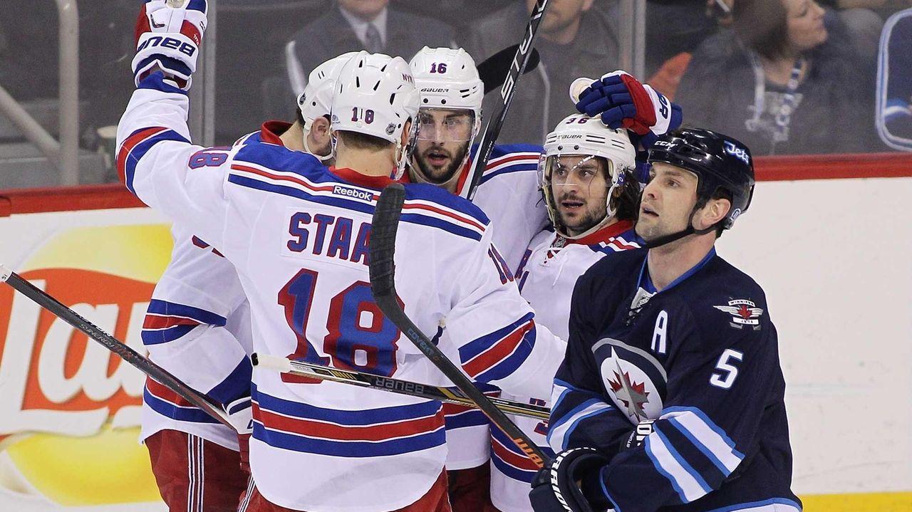 Mats Zuccarello of the New York Rangers celebrates