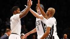 Joe Johnson of the Brooklyn Nets celebrates with