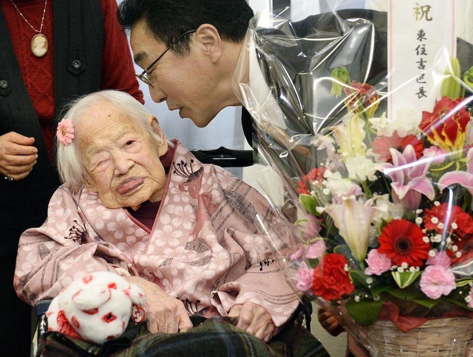 Misao Okawa, then 116, as seen in 2015,