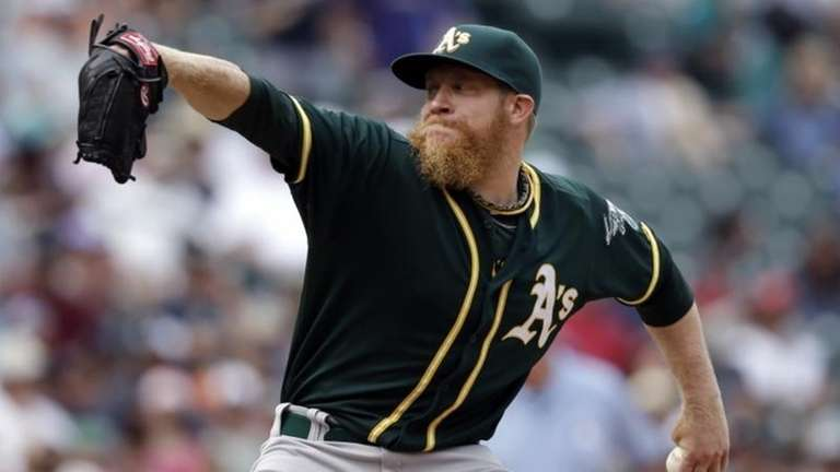 Oakland Athletics reliever Sean Doolittle throws against the