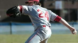 Smithtown East starting pitcher Pat LaGravinese throws against