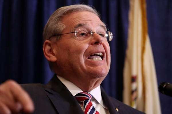 U.S. Sen. Bob Menendez speaks during a news