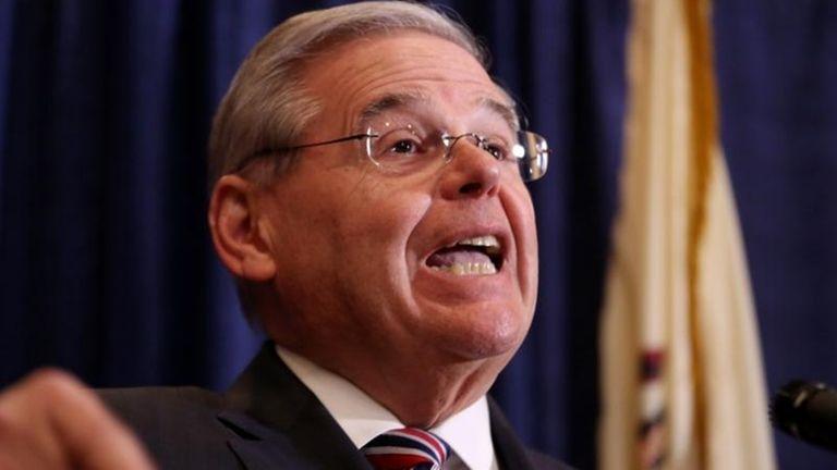U.S. Sen. Bob Menendez speaks during a news