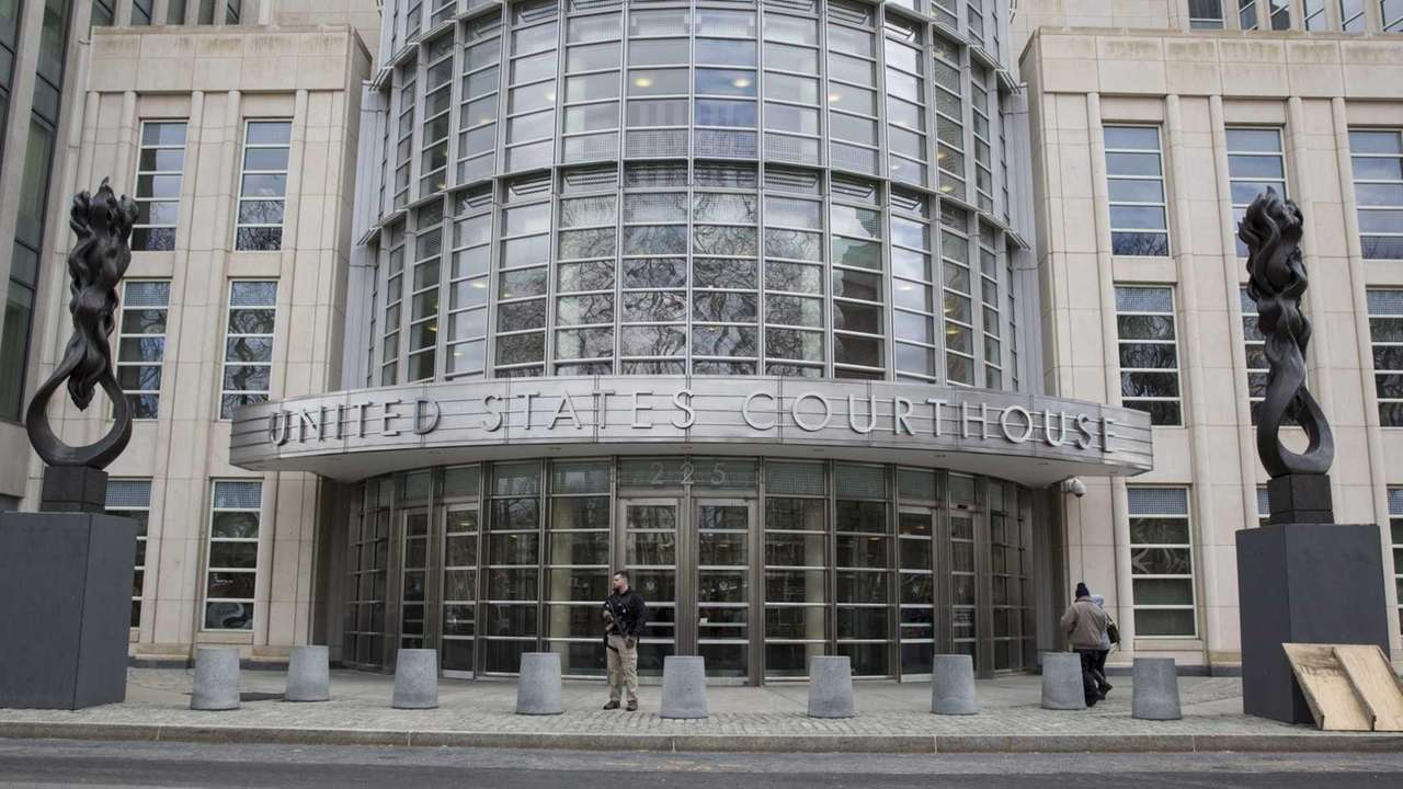 Security stands in front of federal court in