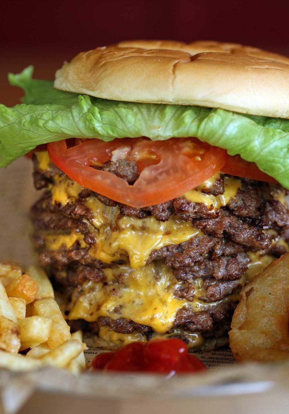 The Triple Triple 9-patty cheeseburger at Jake's Wayback