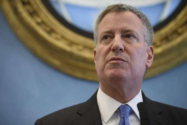 Mayor Bill de Blasio holds a news conference
