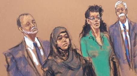 A court artist's rendering of two women accused