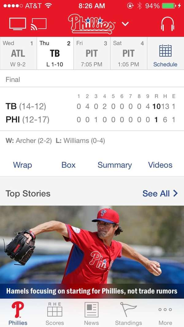 The MLB.com At Bat app.