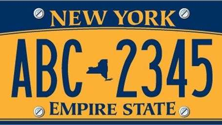 A sample New York State license plate is