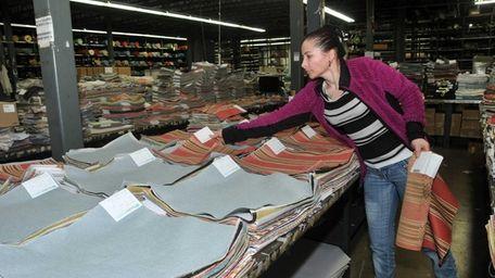 Aurora Benitez, an employee at Duralee Fabrics in