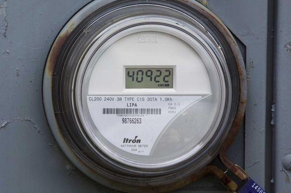 A PSEG LI smart meter is seen on