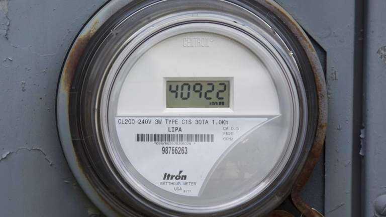 A PSEG LI smart meter is seen on