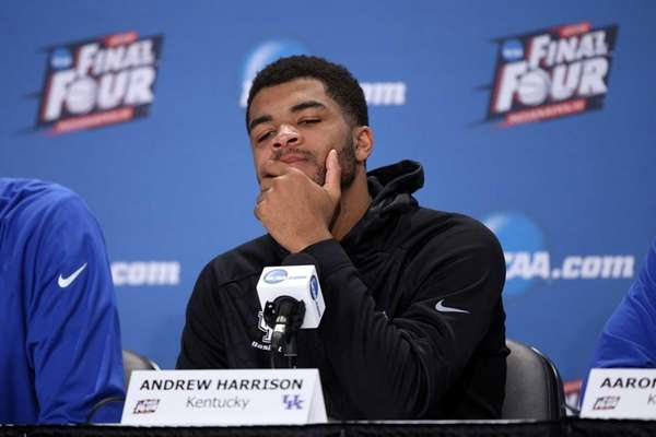 Andrew Harrison of the Kentucky Wildcats reacts in