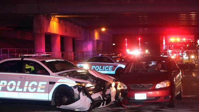 A Suffolk County Police patrol car was involved