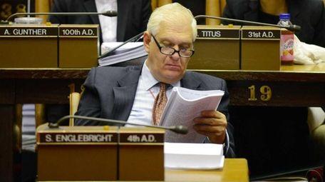 Assemb. Steve Englebright (D-Setauket) sits in the Assembly