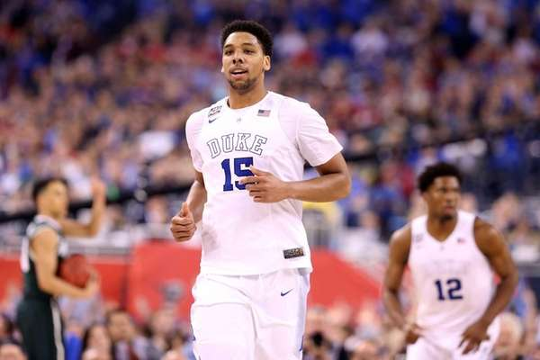 Jahlil Okafor of the Duke Blue Devils reacts