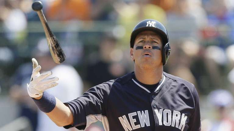 New York Yankees' Alex Rodriguez flips his bat
