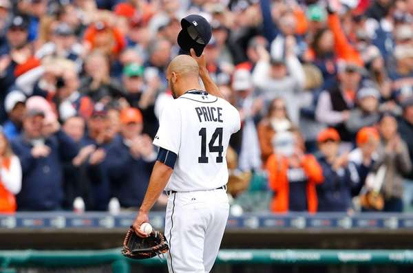 David Price #14 of the Detroit Tigers walks