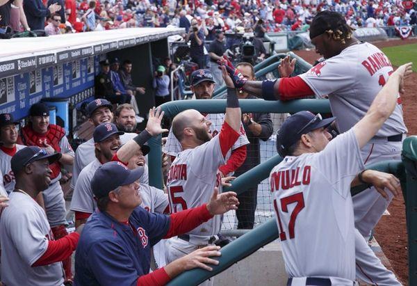 The Boston Red Sox Hanley Ramirez, right, gets