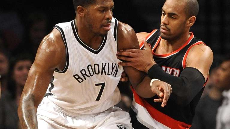 Brooklyn Nets forward Joe Johnson drives the ball