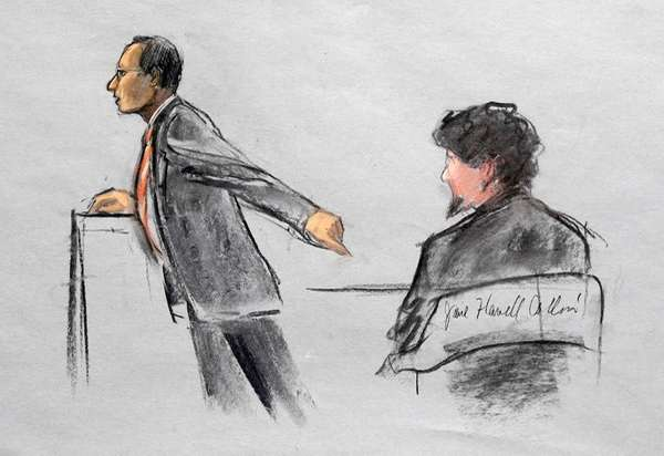 In this courtroom sketch, Assistant U.S. Attorney Aloke