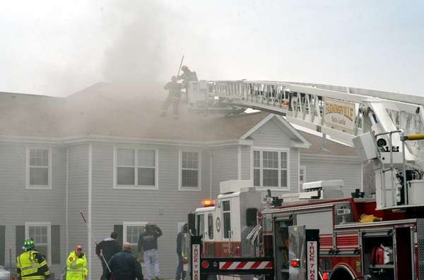 Emergency personnel respond to a fire at a