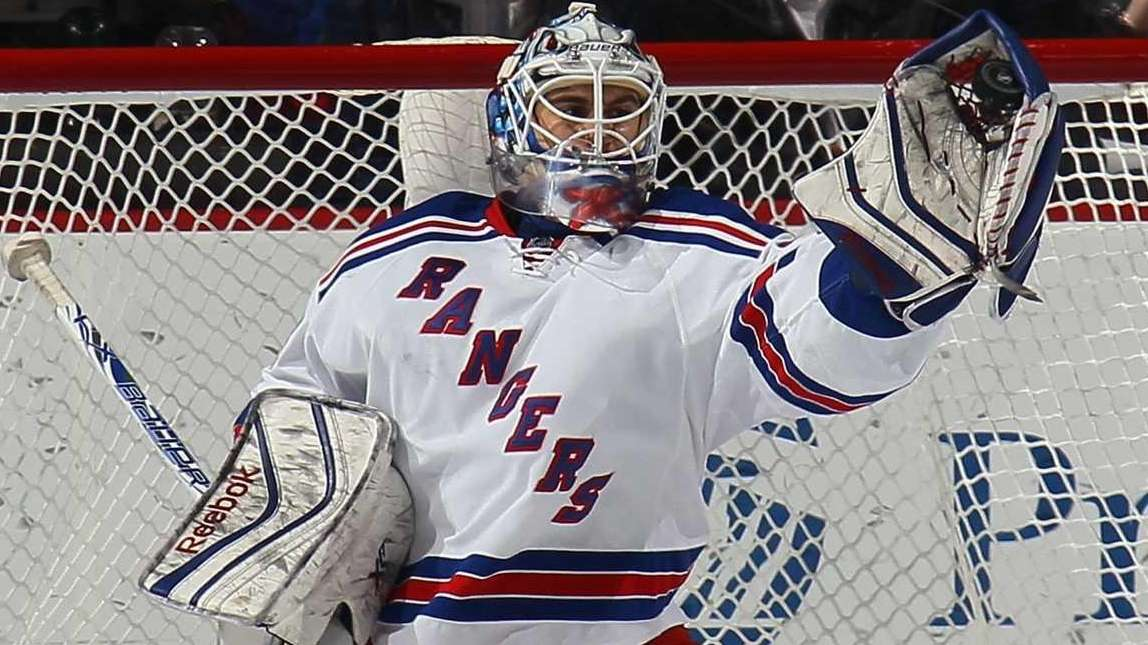 Cam Talbot of the New York Rangers makes