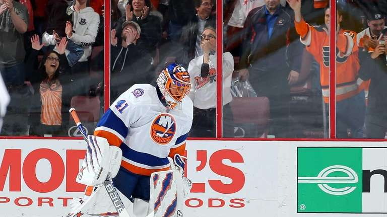 Jaroslav Halak of the New York Islanders skates