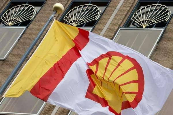 A flag bearing the company logo of Royal