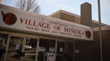 In front of Mineola Village Hall is a