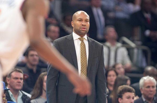 New York Knicks coach Derek Fisher reacts against