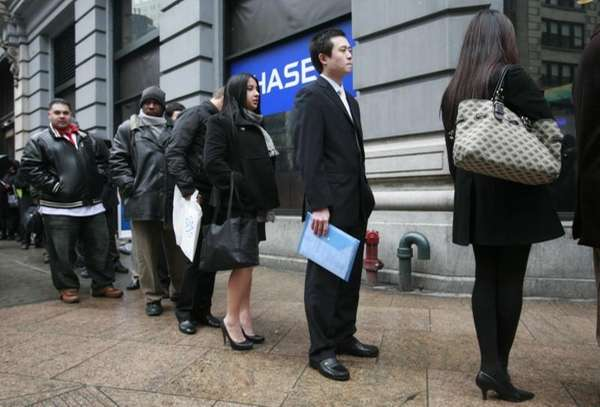 People line up to enter a job fair