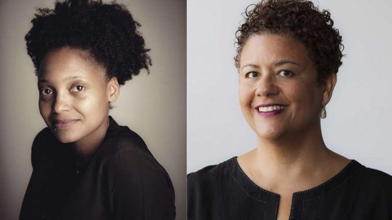 Poets Tracy K. Smith, left, and Elizabeth Alexander,