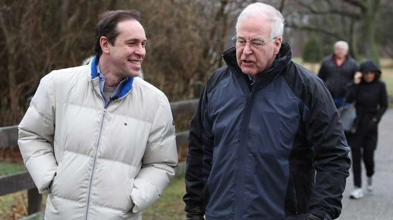 Acting State Health Commissioner, Dr. Howard Zucker, left,