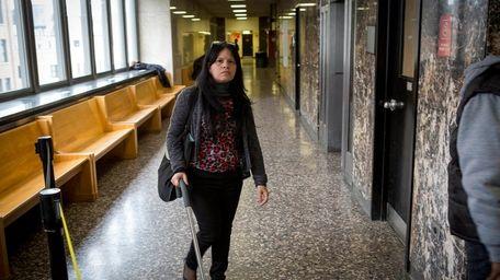 Pedro Hernandez's childhood sweetheart Yvonne Velez, 51, walks