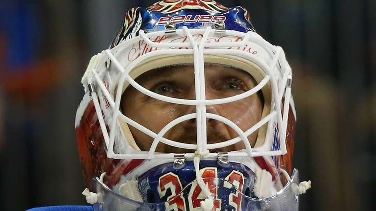 Henrik Lundqvist of the New York Rangers shows