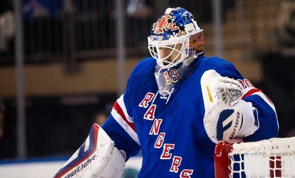 New York Rangers goalie Henrik Lundqvist gives up