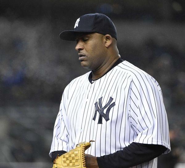 New York Yankees starting pitcher CC Sabathia walks