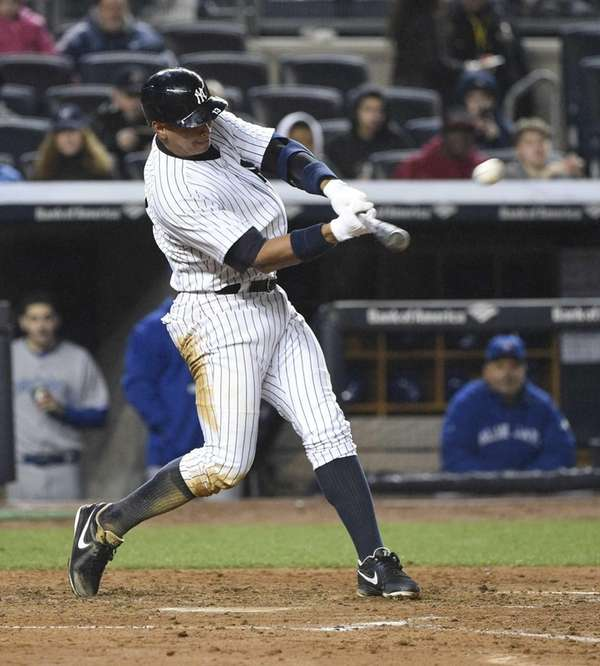 New York Yankees designated hitter Alex Rodriguez hits