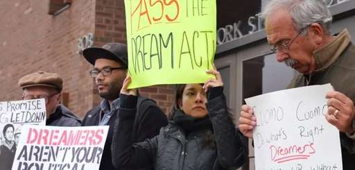 Protestors gathered in Hicksville on April 9, 2015,
