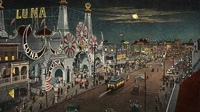 Postcard of Luna Park at Night. ca. 1913,