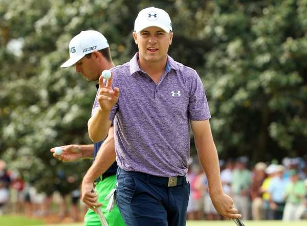Jordan Spieth of the United States waves to