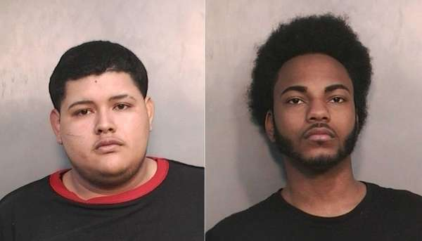 Milson Guevara, 18, left, and Christopher Chevalier, 19,