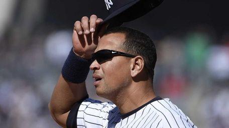 New York Yankees first baseman Alex Rodriguez looks