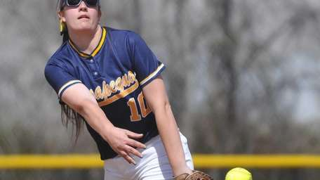 Massapequa pitcher Krista Carcaterra delivers to the plate