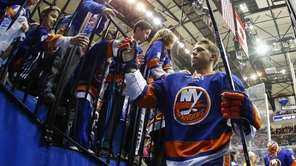 Josh Bailey of the New York Islanders greets