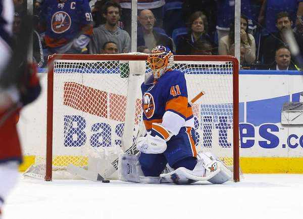 Jaroslav Halak of the New York Islanders looks